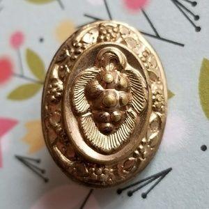 Antique Grape brooch gold tone metal oval vintage